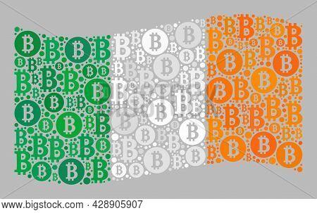 Mosaic Bitcoin Waving Ireland Flag Constructed With Bitcoin Elements. Vector Mosaic Waving Ireland F