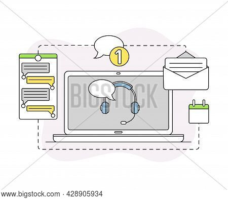 Business And Start-up Development With Laptop Interface And Chat Vector Line Composition