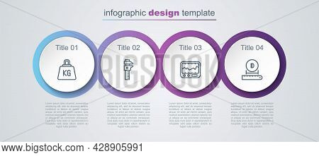 Set Line Weight, Calliper Or Caliper And Scale, Measuring Instrument And Diameter. Business Infograp