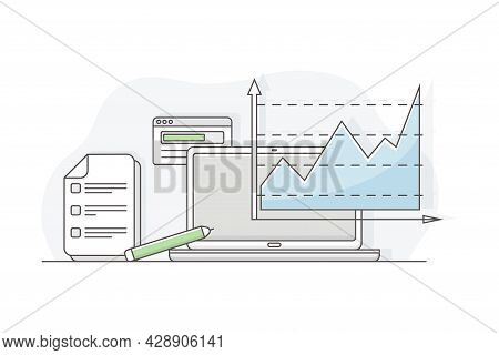 Business Process And Corporate Service Management With Strategic Planning And Analytics Line Vector