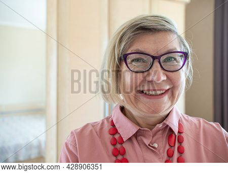 Happy Women Senior Gray Hair Woman, Middle Aged Smile Old Woman Wearing Glasses At Home, Positive Lo