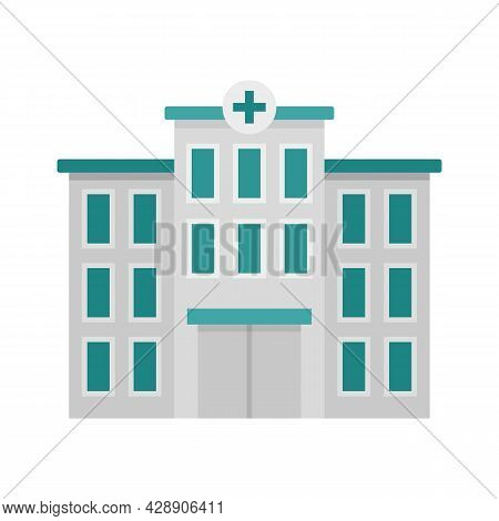 Hospital Building Icon. Flat Illustration Of Hospital Building Vector Icon Isolated On White Backgro