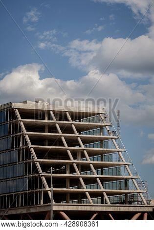 Building Construction Site Work From Concrete, Concrete Structure Of Building Under Construction. Bu