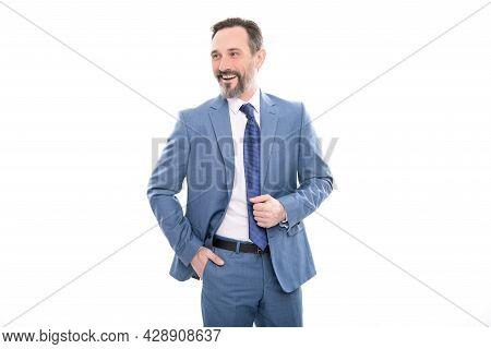 Business Success. Successful Man In Businesslike Suit. Entrepreneur Isolated On White.