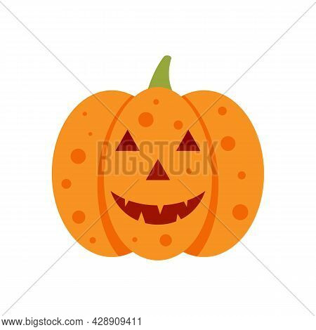 Evil Pumpkin Icon. Flat Illustration Of Evil Pumpkin Vector Icon Isolated On White Background