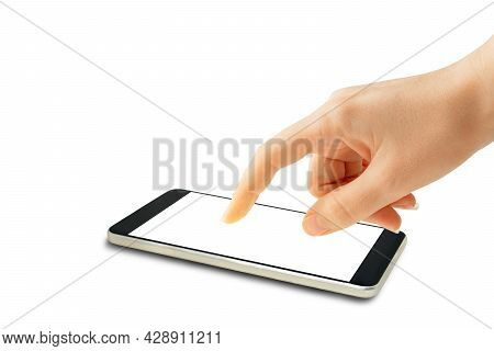 Hand Point And Touch On Blank Screen Of Smartphone. (clipping Path)