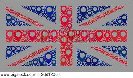 Mosaic Pointer Great Britain Flag Designed With Base Elements. Vector Collage Straight Great Britain