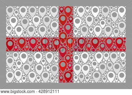 Mosaic Navigation England Flag Constructed With Cartography Icons. Vector Collage Straight England F