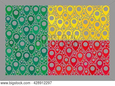 Mosaic Navigation Benin Flag Designed With Geotargeting Icons. Vector Mosaic Rectangular Benin Flag