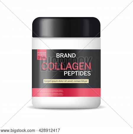 Collagen Powder Vector Realistic Mock Up. Product Packaging Label Designs