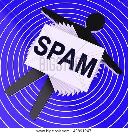 Spam Target Shows Unwanted Electronic Mail Inbox