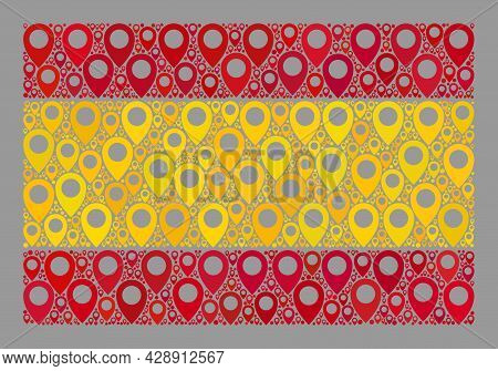 Mosaic Navigation Spain Flag Created With Mark Icons. Vector Collage Straight Spain Flag Designed Fo