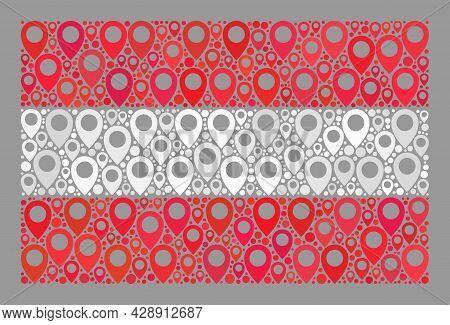 Mosaic Navigation Austria Flag Designed Of Tag Items. Vector Collage Straight Austria Flag Organized