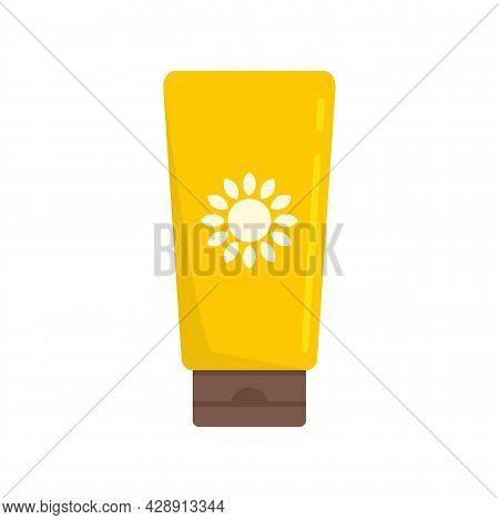 Sunscreen Tube Cream Icon. Flat Illustration Of Sunscreen Tube Cream Vector Icon Isolated On White B