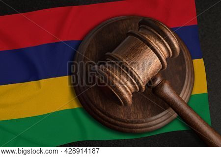Judge Gavel And Flag Of Mauritius. Law And Justice In Mauritius. Violation Of Rights And Freedoms.