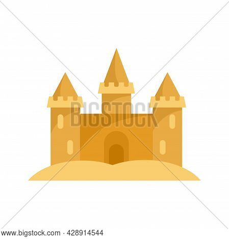 Miniature Sand Castle Icon. Flat Illustration Of Miniature Sand Castle Vector Icon Isolated On White