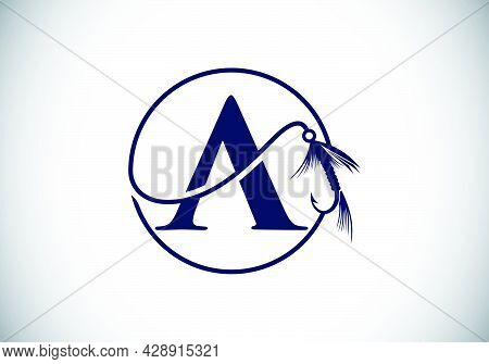 Initial A Monogram Letter Alphabet With Fishing Hook. Fishing Logo Concept Vector Illustration. Mode