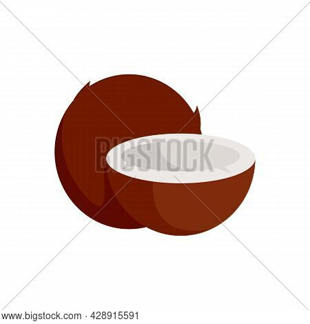 Exotic Coconut Icon. Flat Illustration Of Exotic Coconut Vector Icon Isolated On White Background