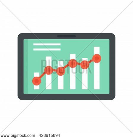 Tablet Business Graph Icon. Flat Illustration Of Tablet Business Graph Vector Icon Isolated On White