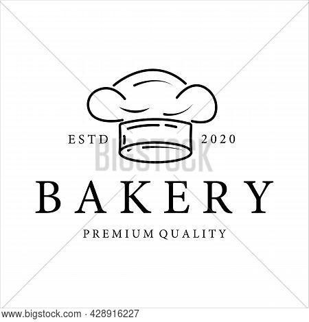 Bakery Shop Logo Line Art Vector Illustration Template Icon Design. Hat Of Chef Logo Concept For Bus