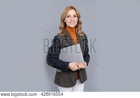 Freelance Blogger In Casual Style Hold Portable Laptop Computer For Blog Writing, Freelancing