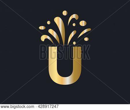 Initial U Letter Logo With Luxury Concept. Elegant U Logo Luxury And Celebration Concept.