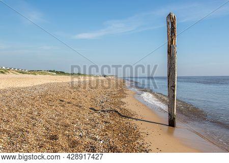 Norfolk Coastline. Coastal Landscape Image Of Sea And Beach At Caister East Anglia Uk. Coast Of Brit
