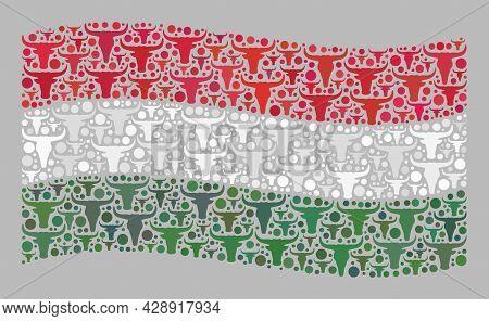 Mosaic Cattle Waving Hungary Flag Designed With Bull Icons. Vector Mosaic Waving Hungary Flag Create