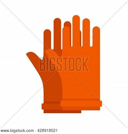Rubber Electric Gloves Icon. Flat Illustration Of Rubber Electric Gloves Vector Icon Isolated On Whi