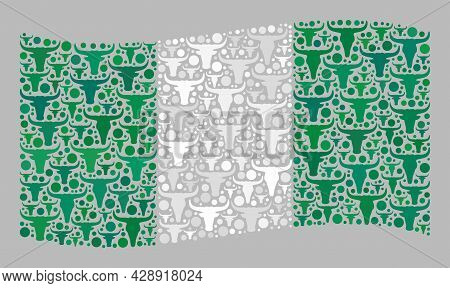 Mosaic Cattle Waving Nigeria Flag Constructed With Bull Items. Vector Mosaic Waving Nigeria Flag Org