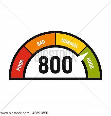 Good Credit Score Display Icon. Flat Illustration Of Good Credit Score Display Vector Icon Isolated