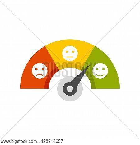 Smiling Credit Score Icon. Flat Illustration Of Smiling Credit Score Vector Icon Isolated On White B