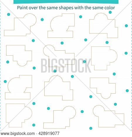 A Game For Children. Paint Over The Same Shapes With The Same Color. Development Of Attention, Memor