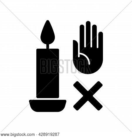 Never Touch Burning Candle Black Glyph Manual Label Icon. Placing Container On Stable Surface. Silho