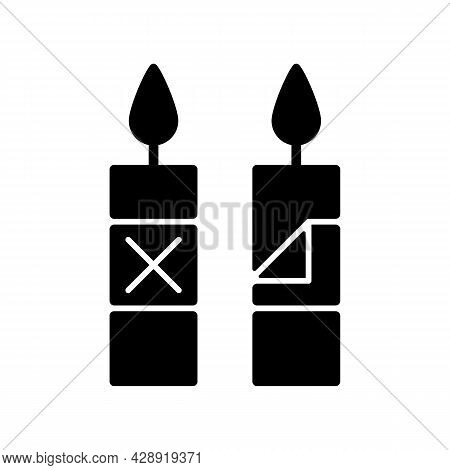 Remove Candle Packaging Before Use Black Glyph Manual Label Icon. Eliminate Plastic Sleeve Around Ca