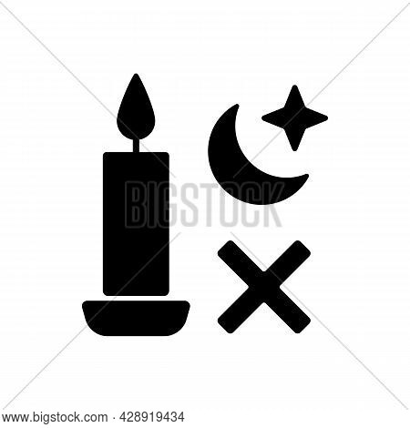 Never Use Candle While Sleeping Black Glyph Manual Label Icon. Avoid Candles Usage During Power Outa