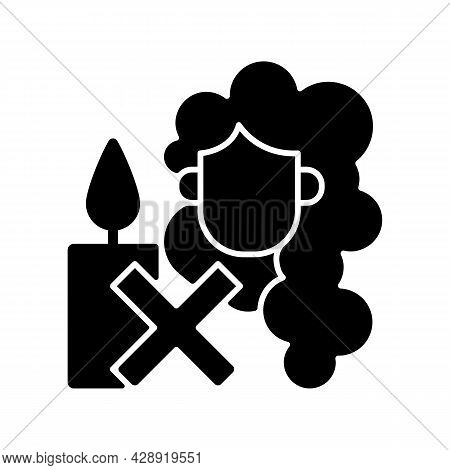 Keep Hair Away From Open Flame Black Glyph Manual Label Icon. Candle Making Safety. Taking Precautio
