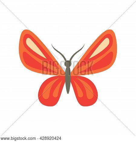 Elegant Butterfly Icon. Flat Illustration Of Elegant Butterfly Vector Icon Isolated On White Backgro