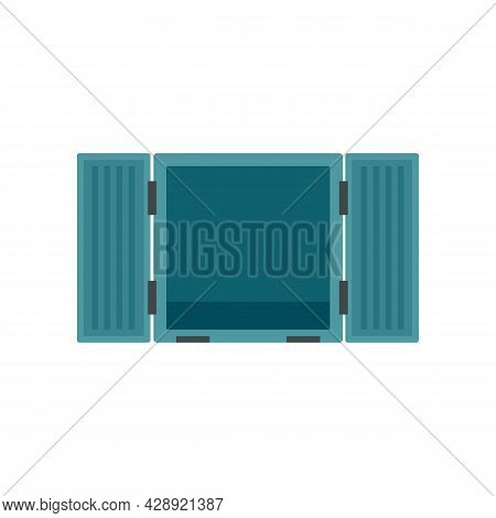 Open Cargo Container Icon. Flat Illustration Of Open Cargo Container Vector Icon Isolated On White B