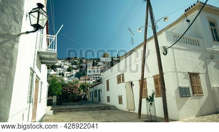 View of one of the streets of the island of Hydra in the Aegean Sea, Greece.