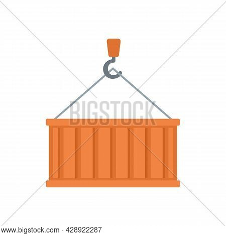 Port Cargo Container Icon. Flat Illustration Of Port Cargo Container Vector Icon Isolated On White B