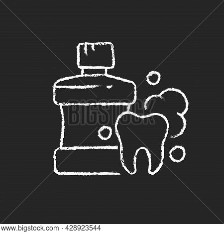 Mouthwash For Teeth Health Chalk White Icon On Dark Background. Oral Rinse. Fighting Plaque Buildup.