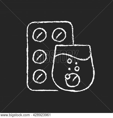 Effervescent Tablet For Cold Relief Chalk White Icon On Dark Background. Cough-and-cold Medication.