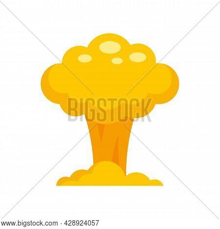 Nuclear Mushroom Icon. Flat Illustration Of Nuclear Mushroom Vector Icon Isolated On White Backgroun