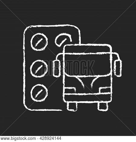 Pills For Motion Sickness Chalk White Icon On Dark Background. Nausea And Vomiting Reducing. Prevent