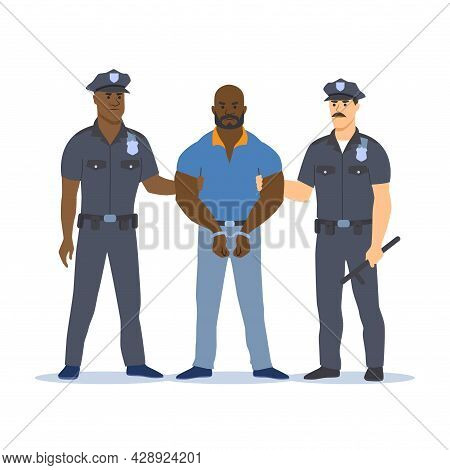 Police Officers Arresting The Criminal. The Criminal Is Handcuffed. Vector Illustration.