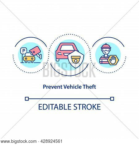 Prevent Vehicle Theft Concept Icon. Visible Security Cameras For Thiefs Deterrent. Surveillance For