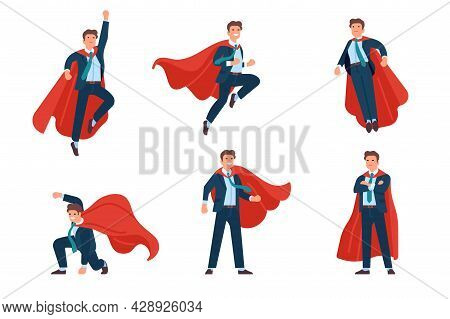 Super Businessman Poses. Professional Superhero Office Manager Character In Costume And Fluttering C
