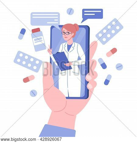 Doctor Online Consultation. Big Flat Hand Holds Phone, Doc Woman Advises From Mobile Screen, Remote