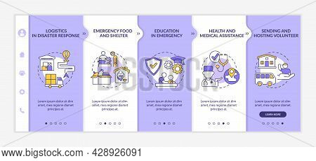 Types Of Humanitarian Aid Onboarding Vector Template. Responsive Mobile Website With Icons. Web Page